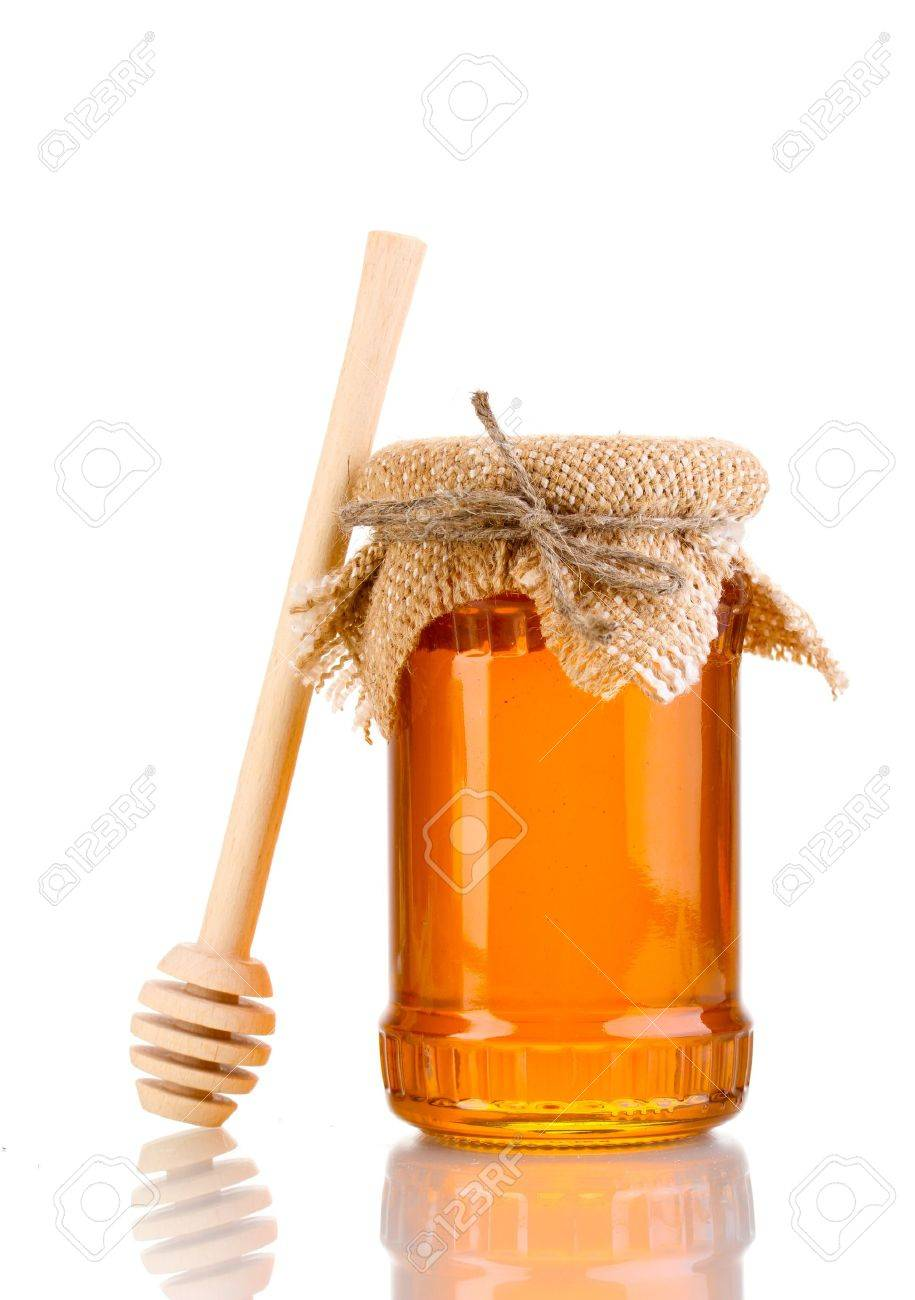 Sweet honey in jar with drizzler isolated on white Stock Photo - 12544568