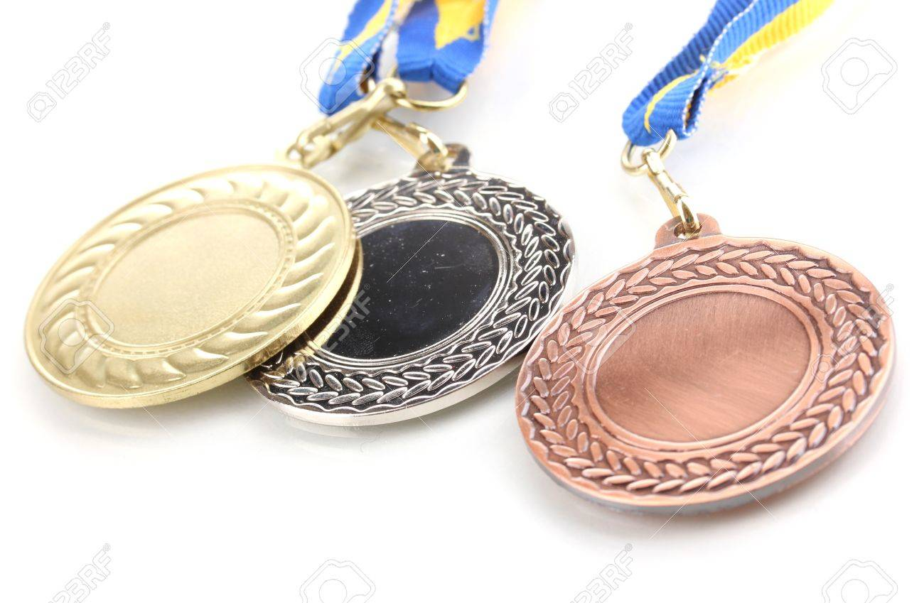 Three medals isolated on white Stock Photo - 12716282