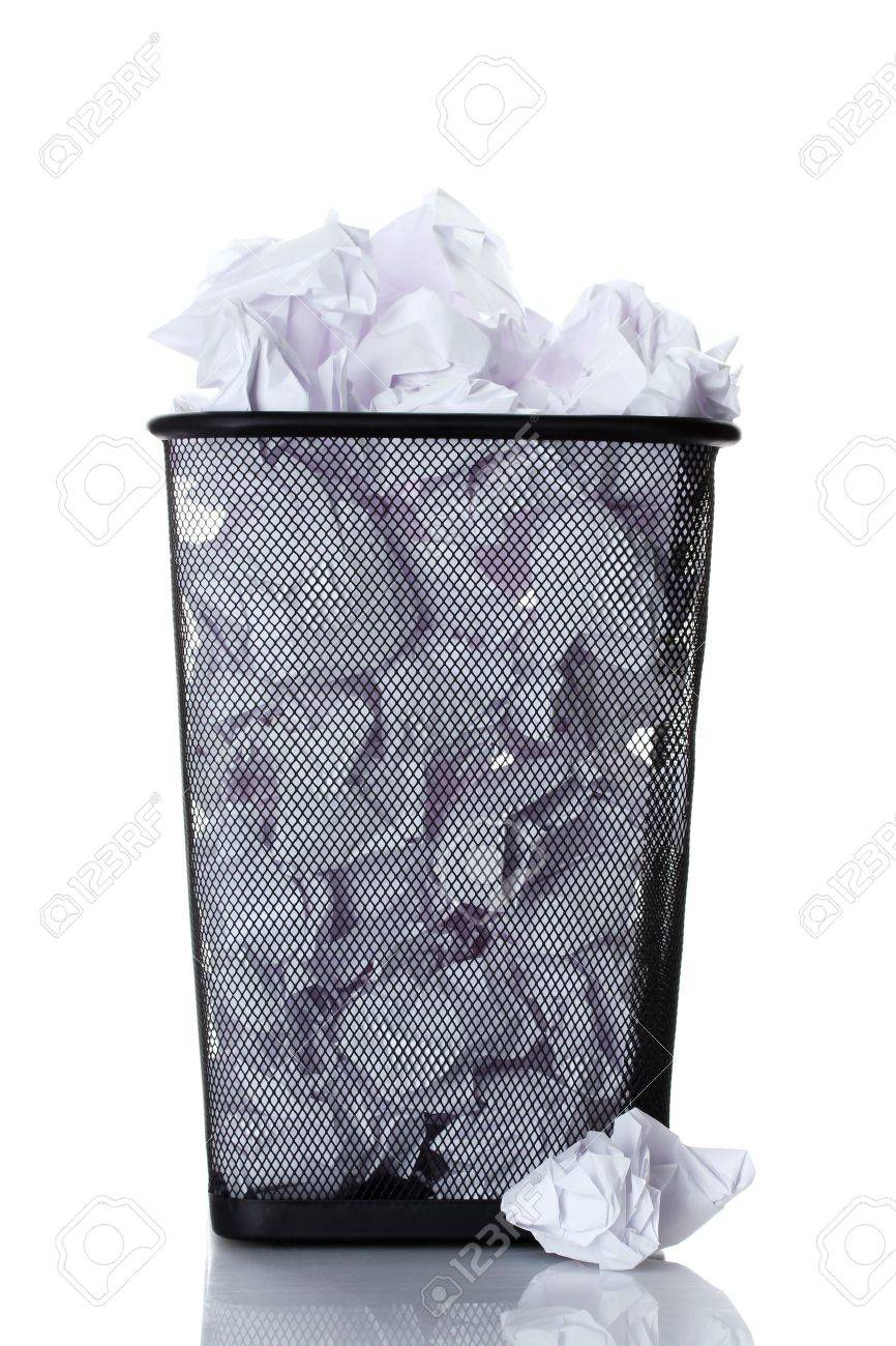metal trash bin from paper isolated on white Stock Photo - 12800473