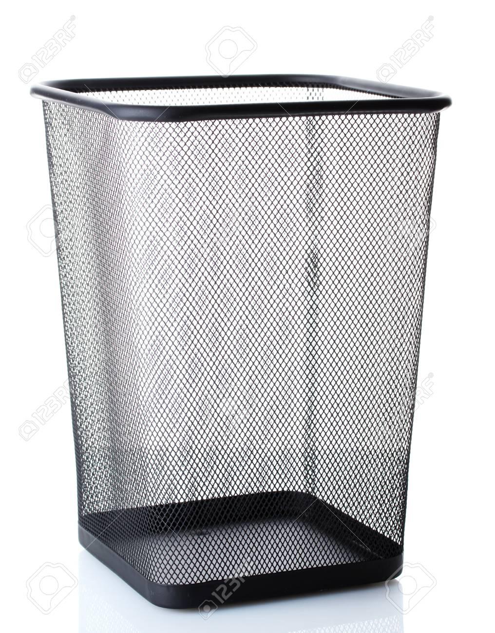 empty metal trash bin  isolated on white Stock Photo - 12822683
