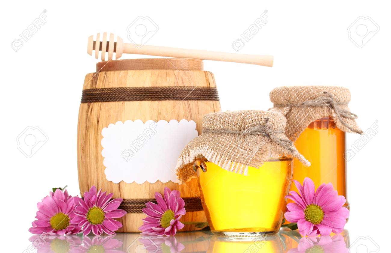 Sweet honey in jars and barrel with drizzler isolated on white Stock Photo - 12892084