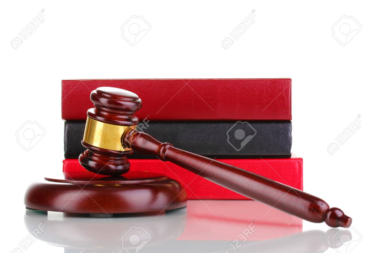 Judge's gavel and books isolated on white Stock Photo - 12912869