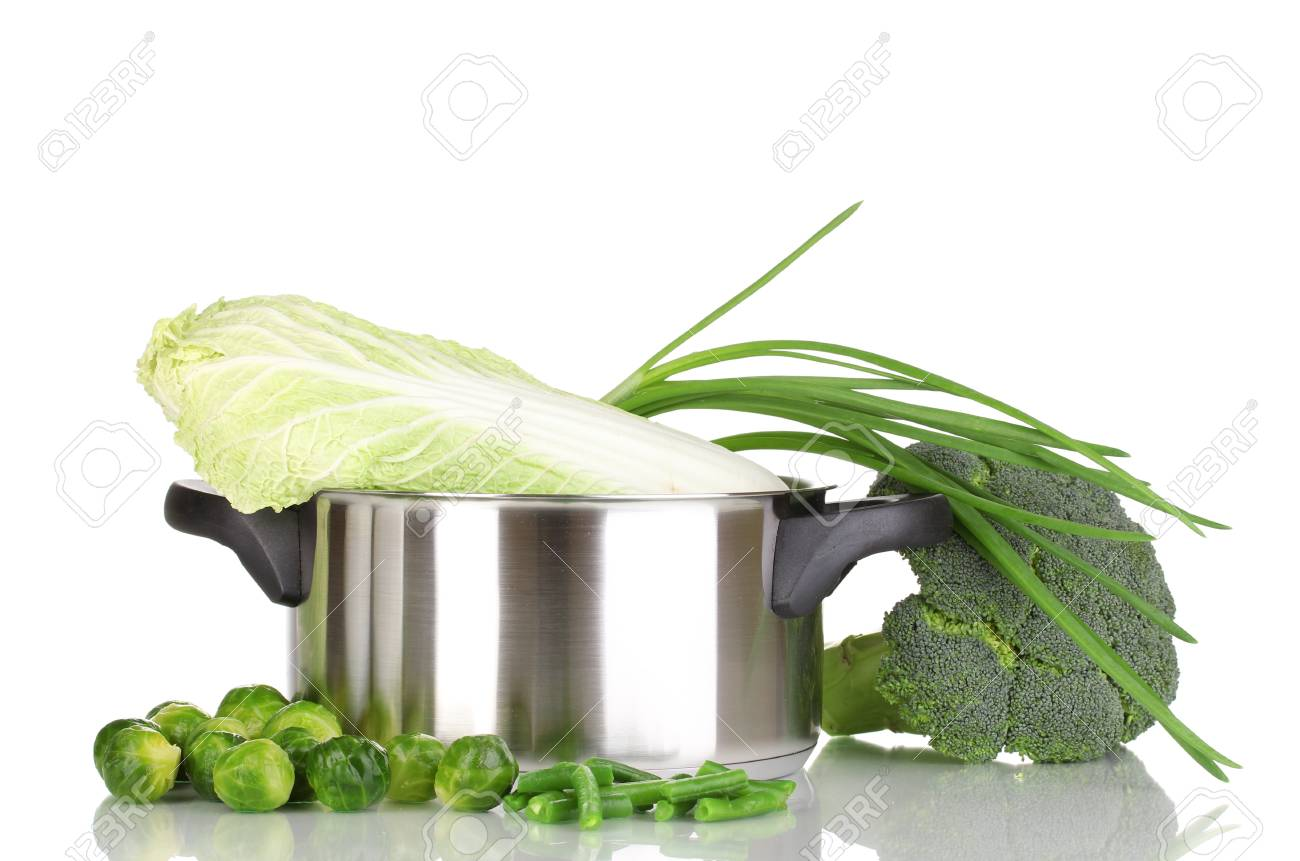 Saucepan with cabbages, broccoli and onion isolated on white Stock Photo - 12980206