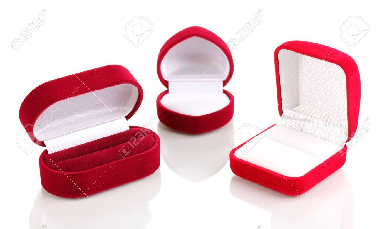 Red jewelry boxes isolated on white Stock Photo - 12979663
