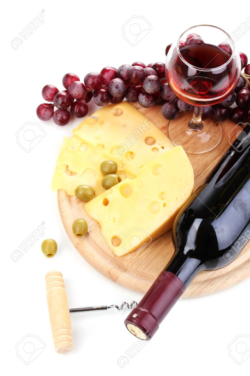 Bottle of great wine with wineglass and cheese isolated on white Stock Photo - 12979587