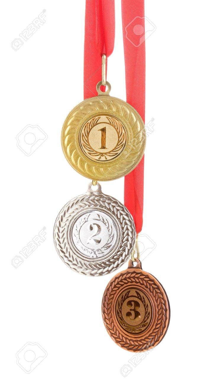 Three medals isolated on white Stock Photo - 13061705
