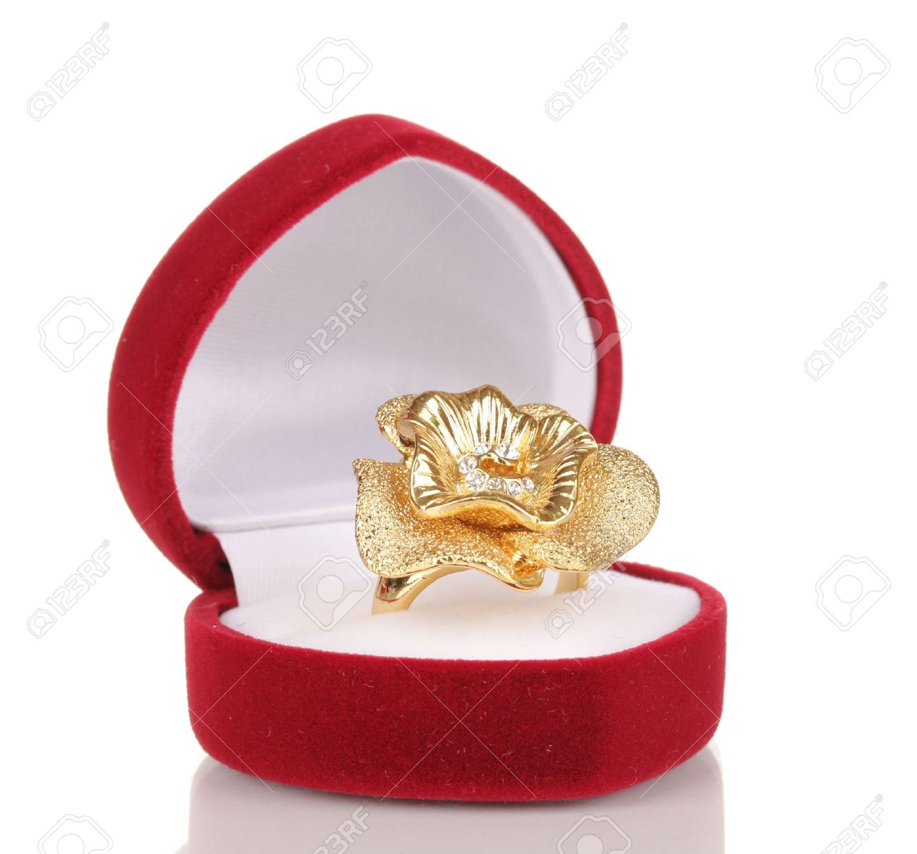 Gold ring with golden flower and clear crystals in red velvet box isolated on white Stock  sc 1 st  123RF Stock Photos & Gold Ring With Golden Flower And Clear Crystals In Red Velvet ... Aboutintivar.Com