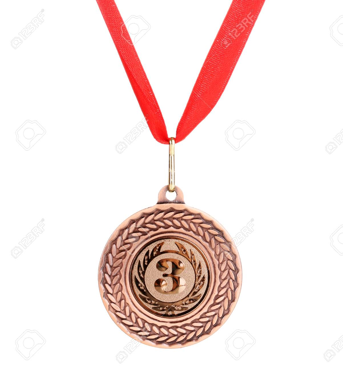 Bronze medal isolated on white Stock Photo - 13304241