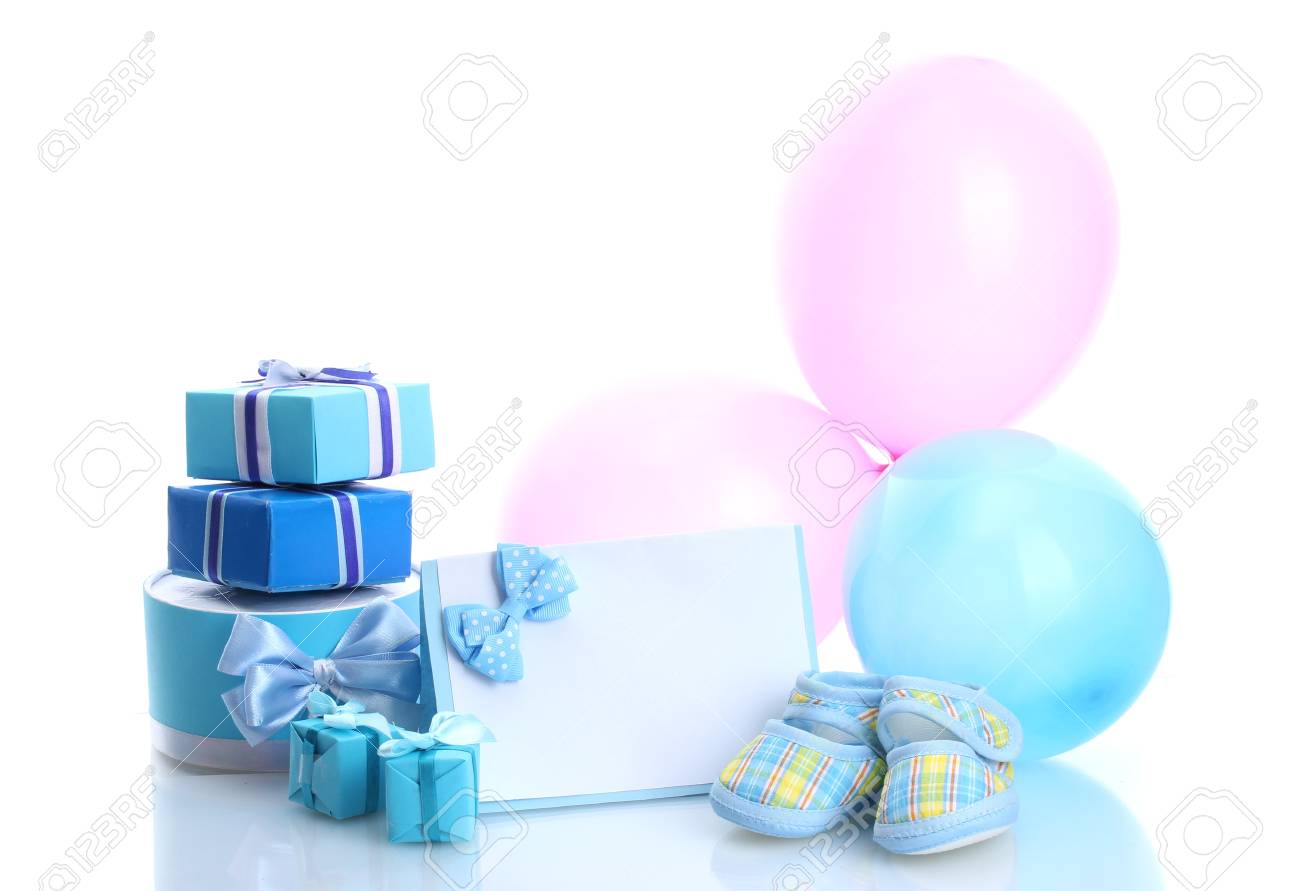 beautiful gifts, baby's bootees, blank postcard and balloons isolated on white Stock Photo - 13304271