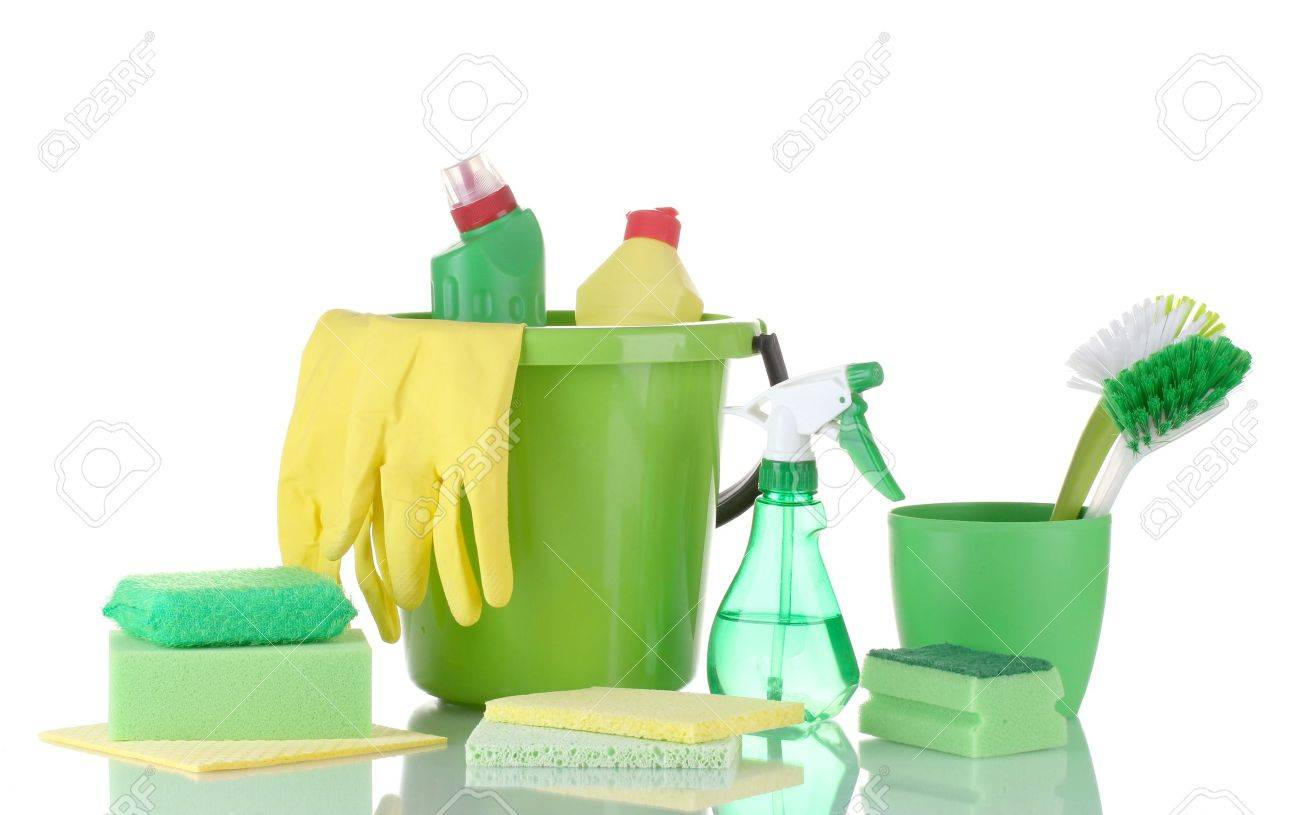 cleaning products isolated on white Stock Photo - 13355816