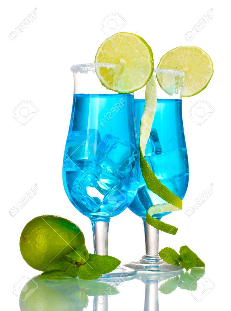 Blue cocktail in glasses with ice and sugar isolated on white Stock Photo - 13370116