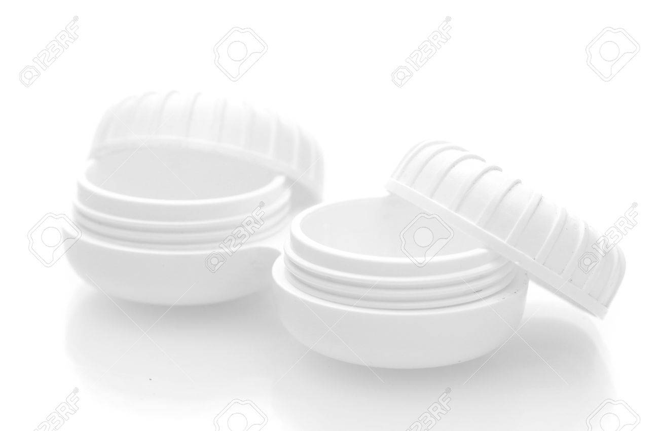 containers for contact lenses isolated on white Stock Photo - 13437622