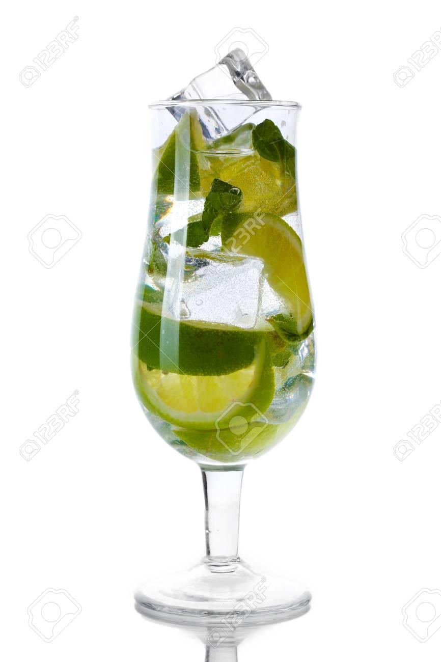 cold fresh lemonade isolated on white Stock Photo - 13437730