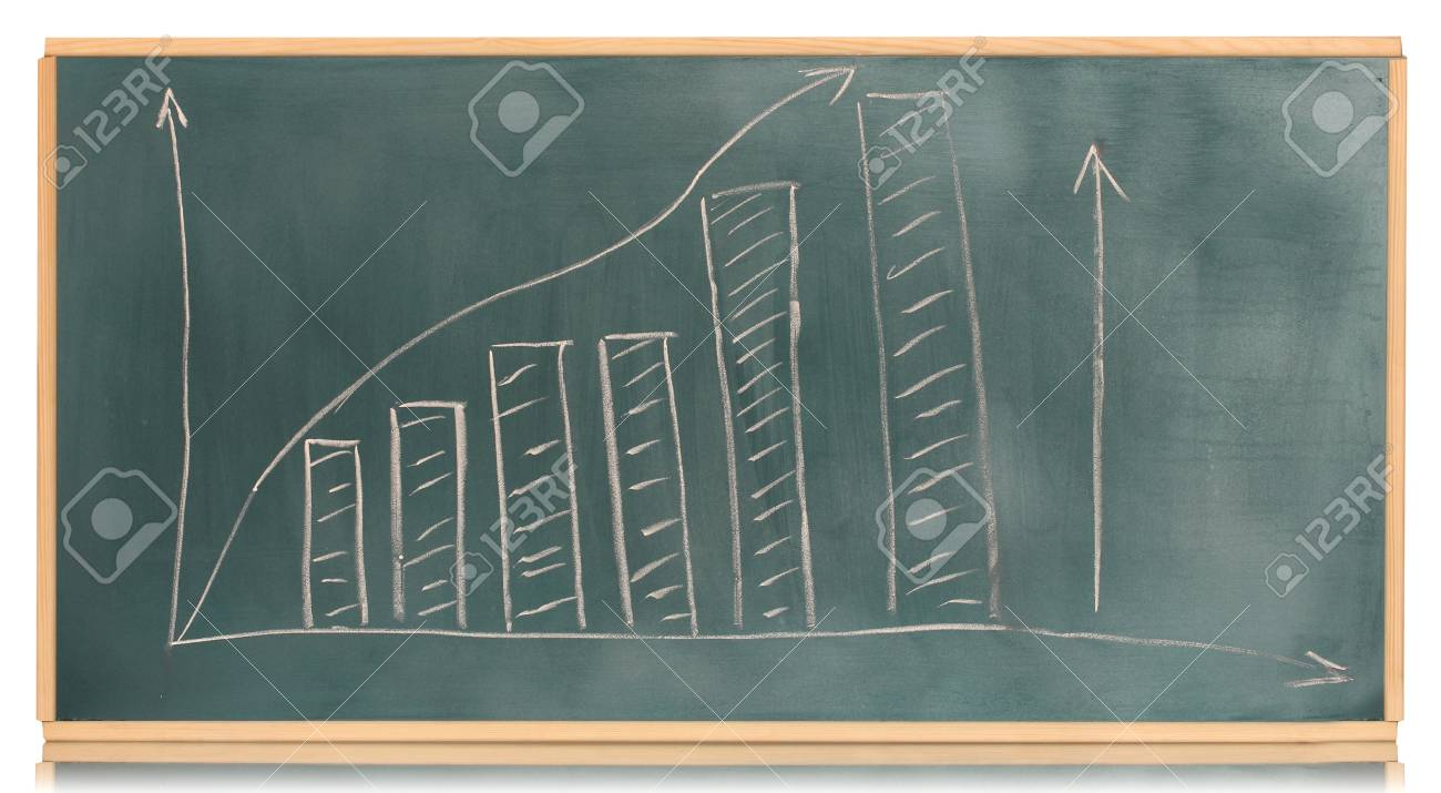 Growth chart is drawn on the blackboard isolated on white Stock Photo - 13603191