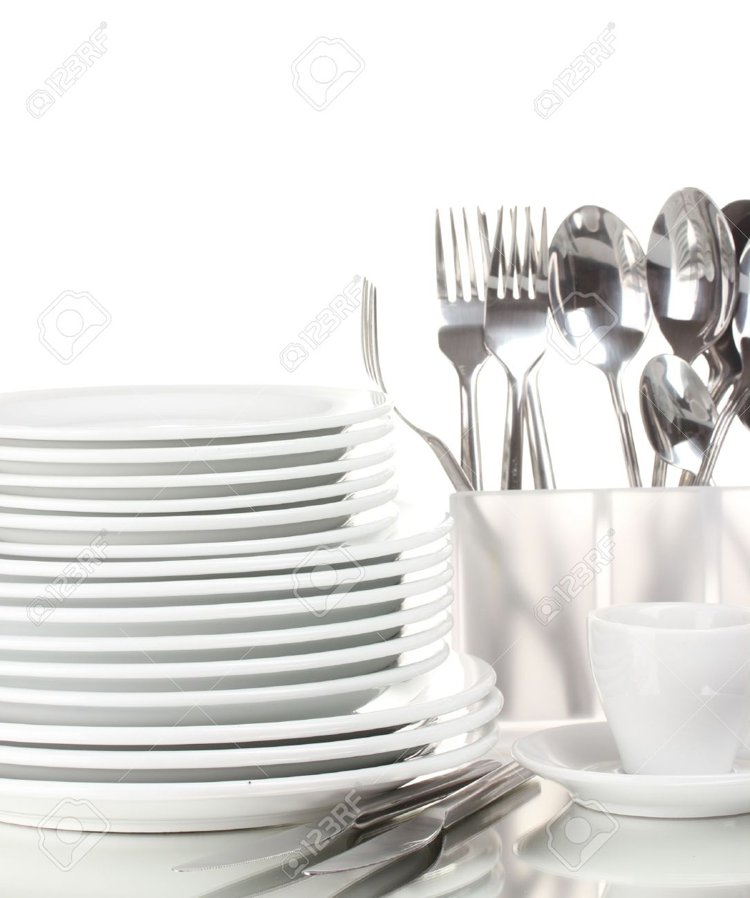 clean plates and cutlery isolated on white stock photo, picture