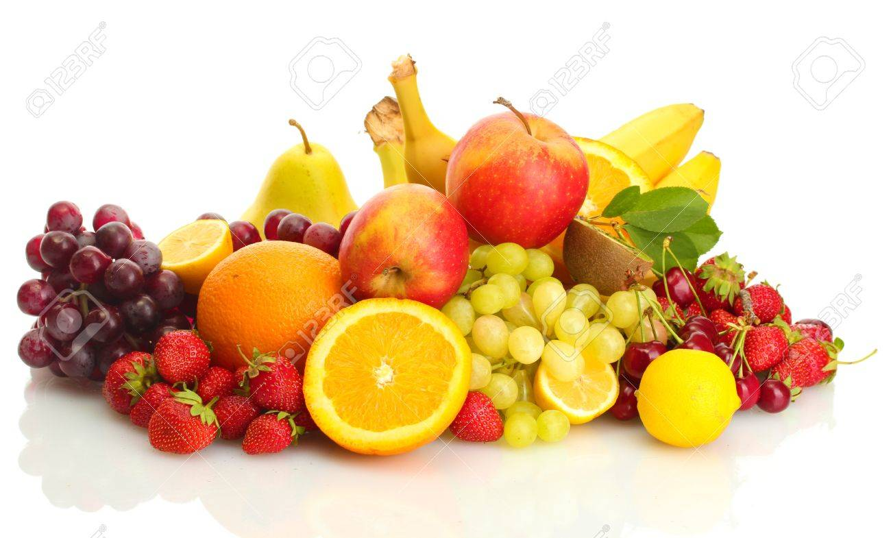 exotic fruits and berries isolated on white Stock Photo - 13874556