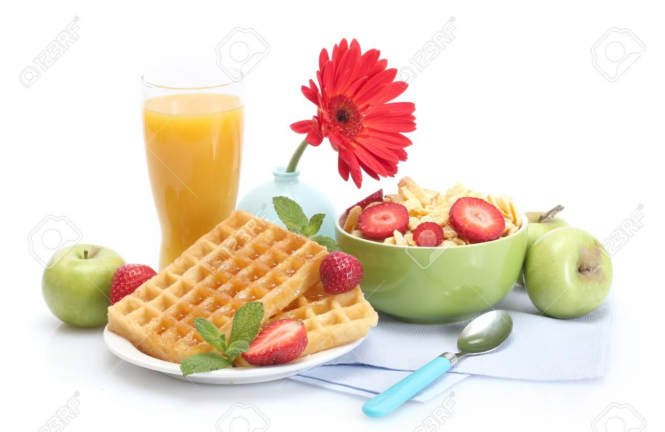 light breakfast isolated on white Stock Photo - 13874500