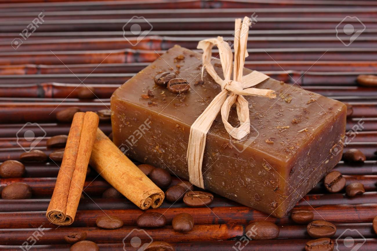 Hand-made soap on bamboo mat Stock Photo - 14135153