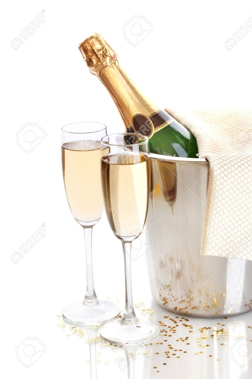 Champagne bottle in bucket with ice and glasses of champagne, isolated on white - 14134932