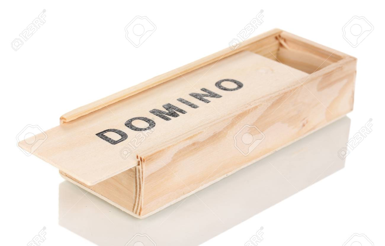 Wooden box with domino isolated on white Stock Photo - 13993472