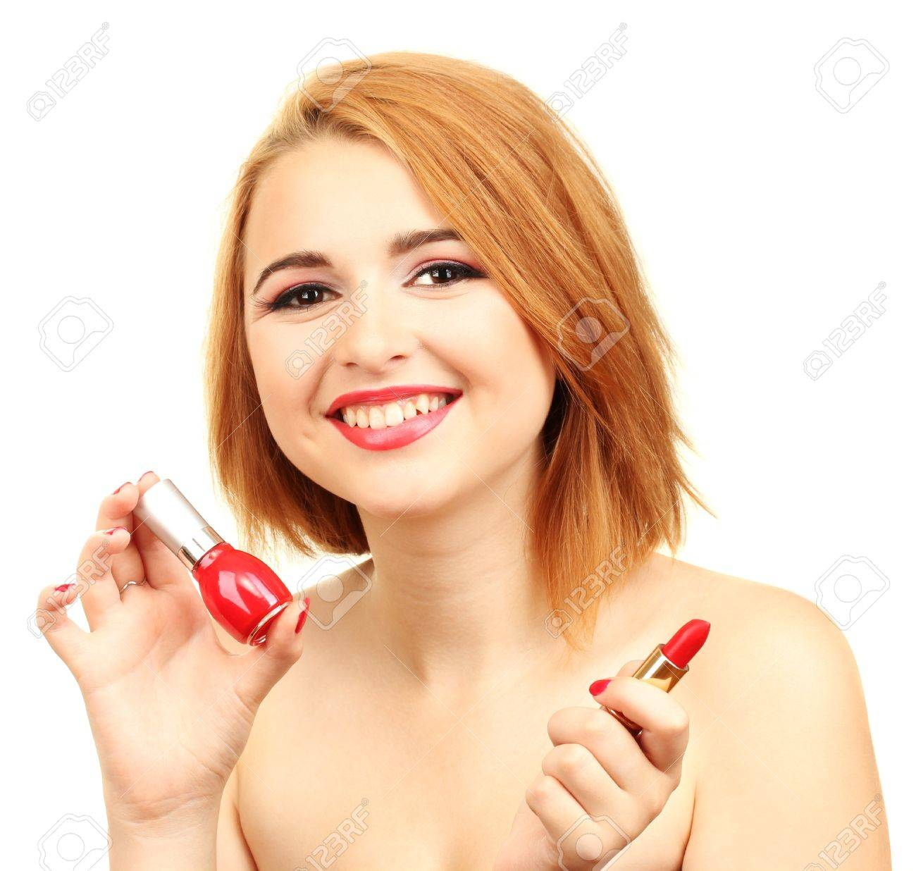 portrait of sexy young woman with red nail polish and lipstick Stock Photo - 14558982