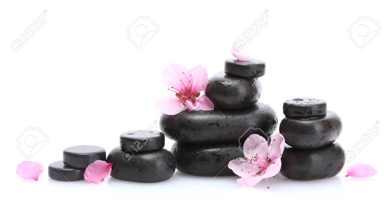 Spa stones with drops and pink sakura flowers isolated on white Stock Photo - 14028406