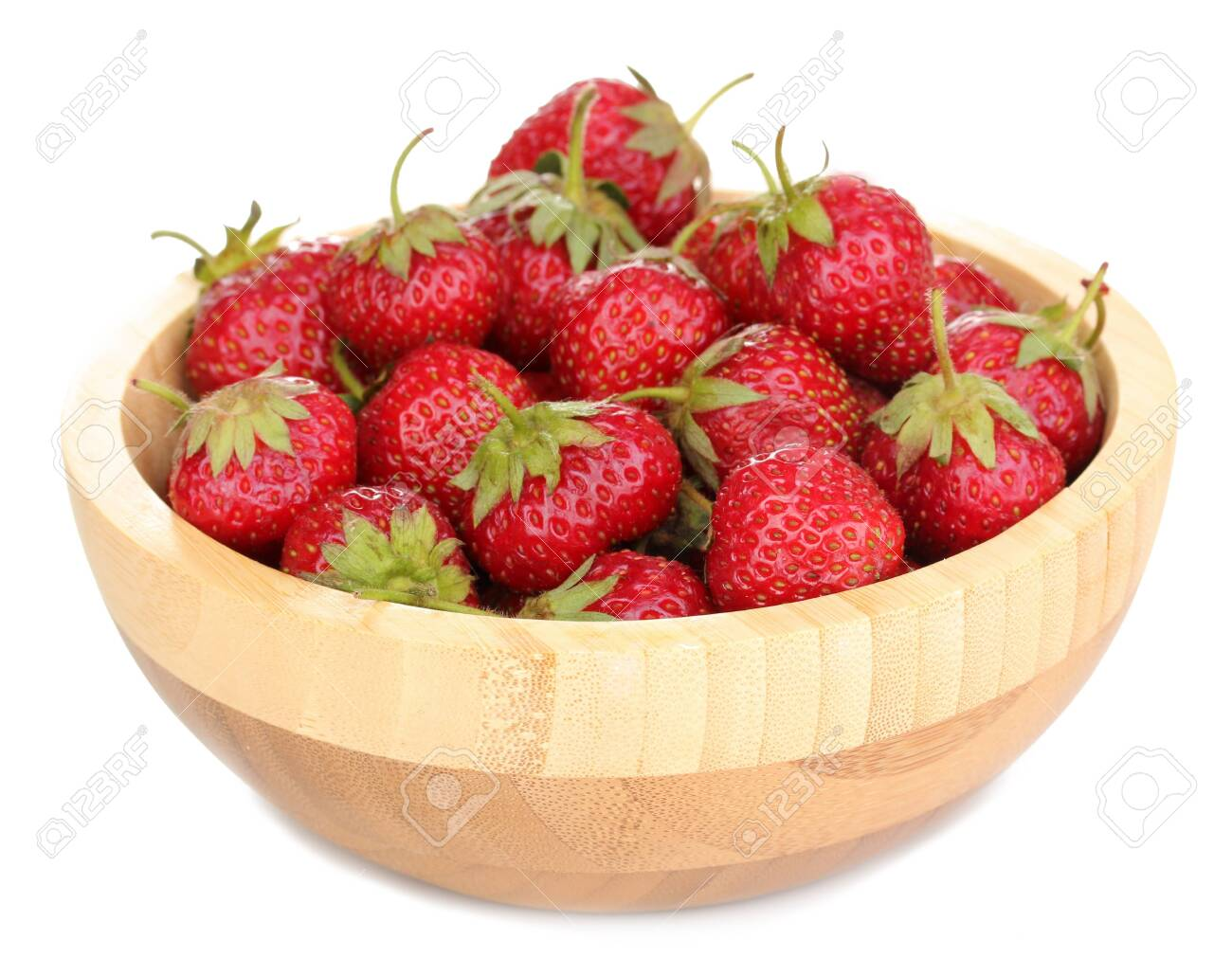Sweet ripe strawberries in wooden bowl isolated on white Stock Photo - 14042730