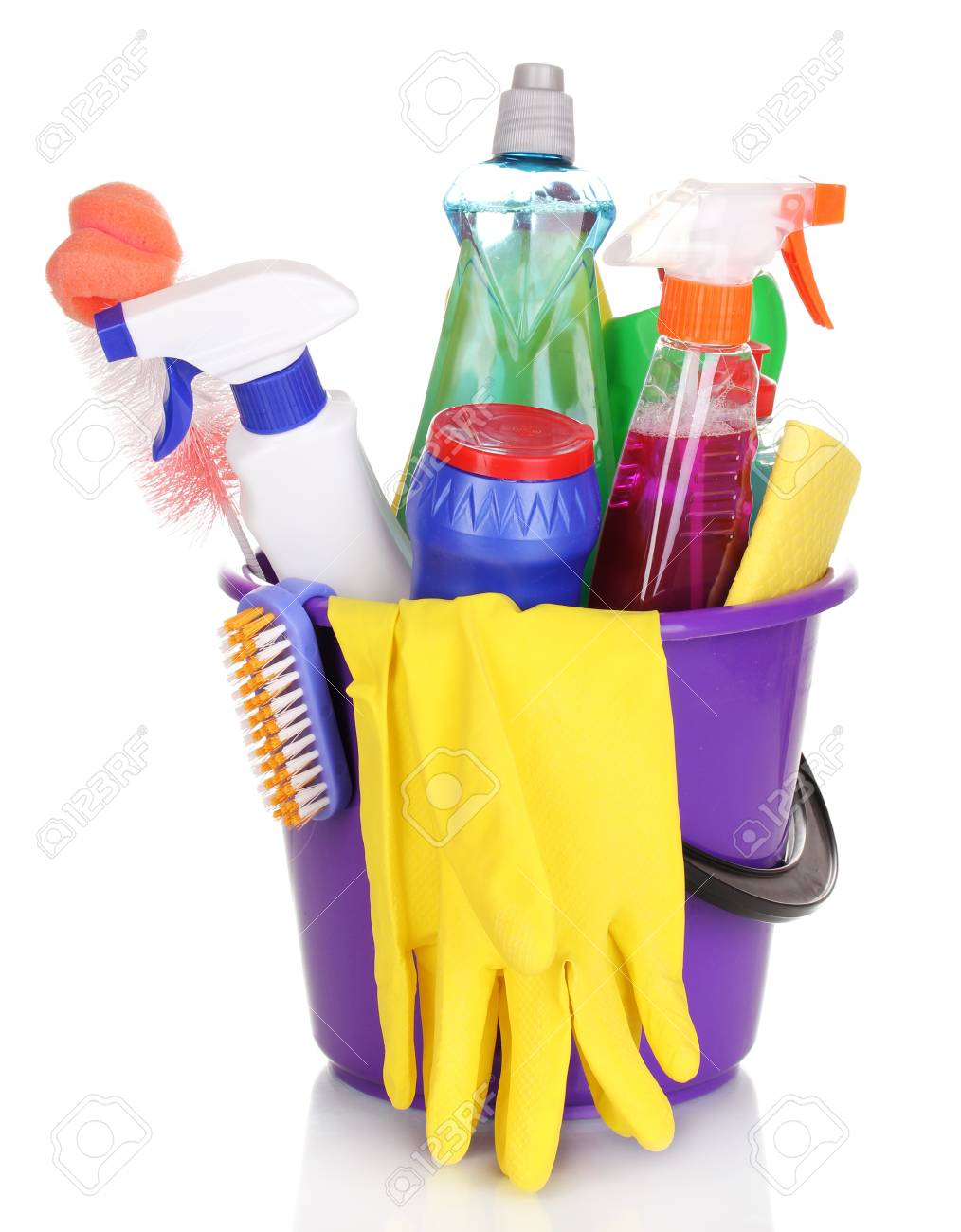 Cleaning items in bucket isolated on white Stock Photo - 14114892