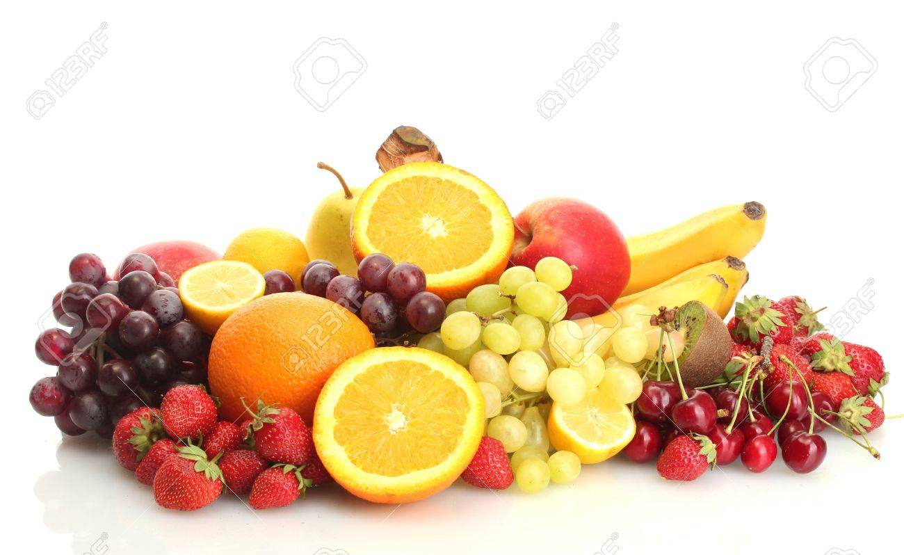 exotic fruits and berries isolated on white Stock Photo - 14163505