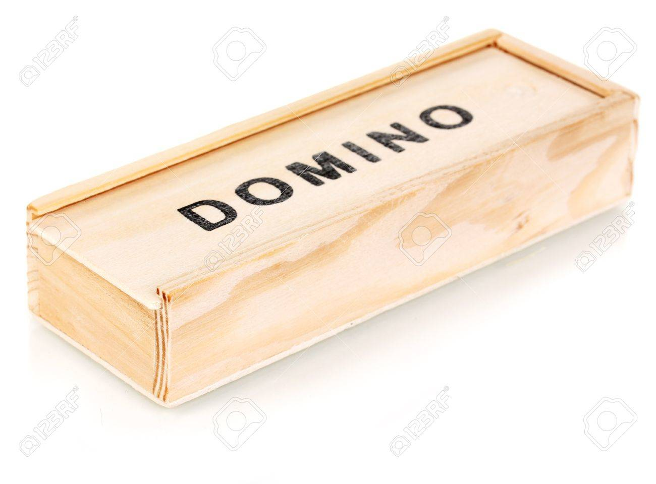 Wooden box with domino isolated on white Stock Photo - 14163319