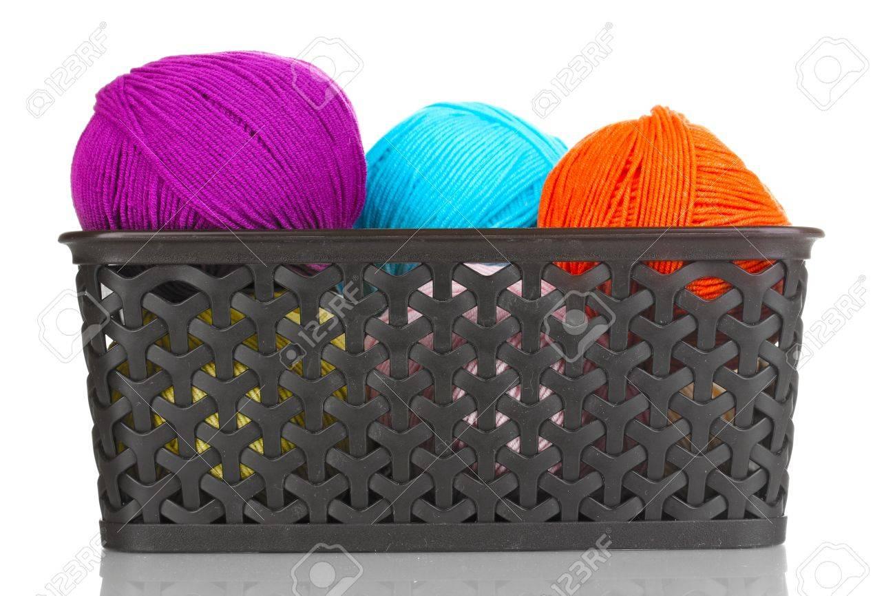 Knitting yarn in plastic basket isolated on white Stock Photo - 14221485