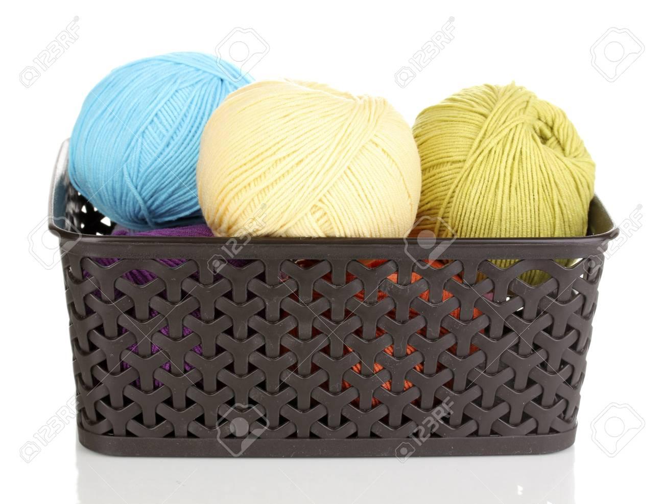 Knitting yarn in plastic basket isolated on white Stock Photo - 14305115