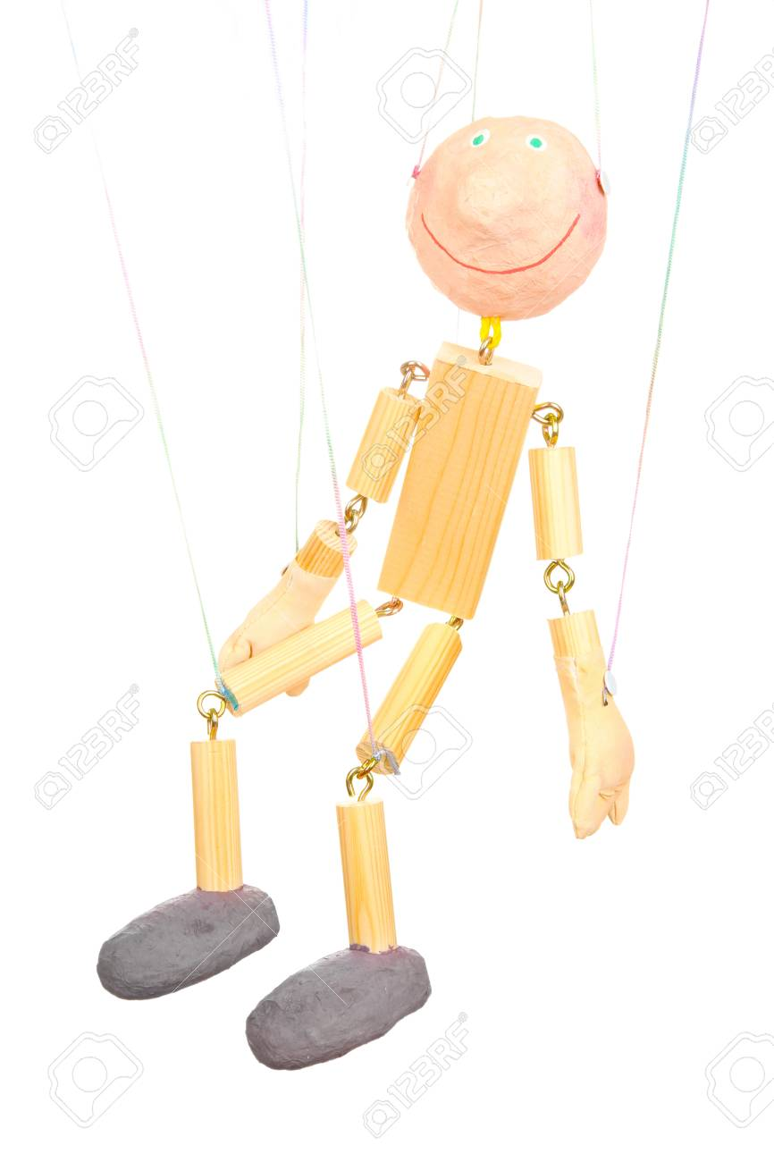 Wooden puppet isolated on white Stock Photo - 14357093