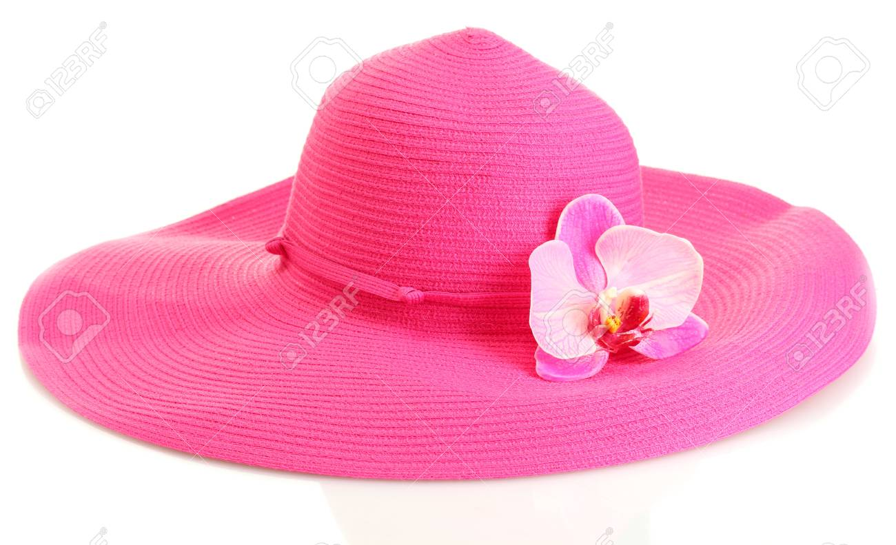 Beautiful summer woman hat with flower isolated on white background Stock Photo - 14358013
