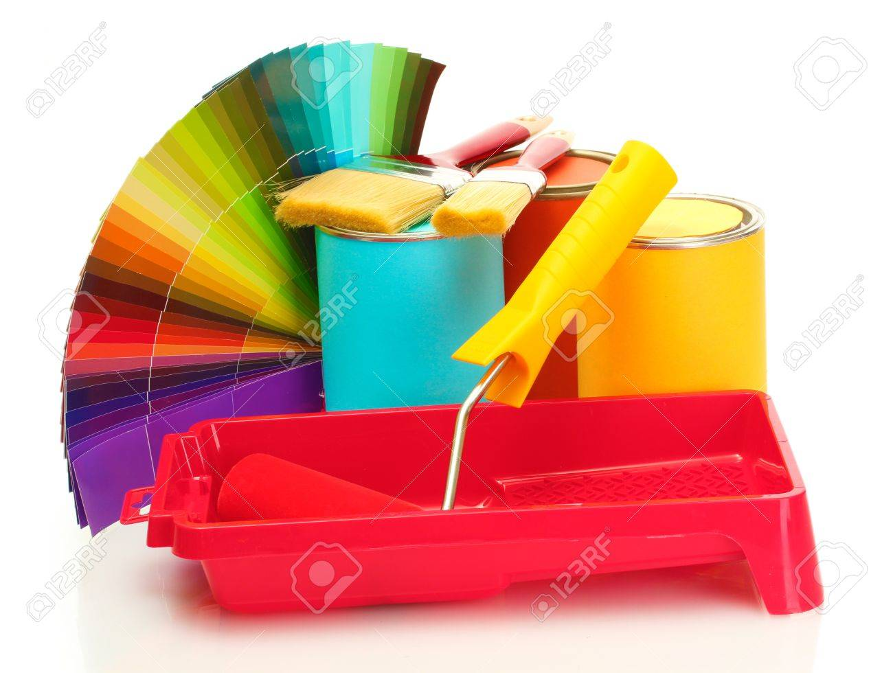 tin cans with paint roller brushes and bright palette of colors tin cans with paint roller brushes and bright palette of colors isolated on white