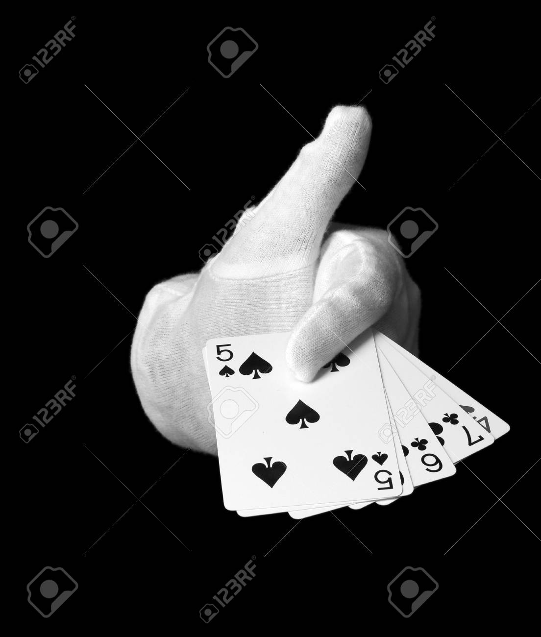 Cards in hand isolated on black Stock Photo - 14463780