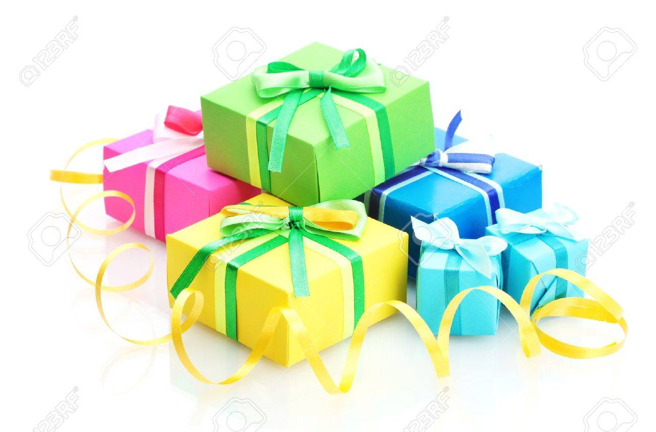bright gifts with bows isolated on white Stock Photo - 14707035
