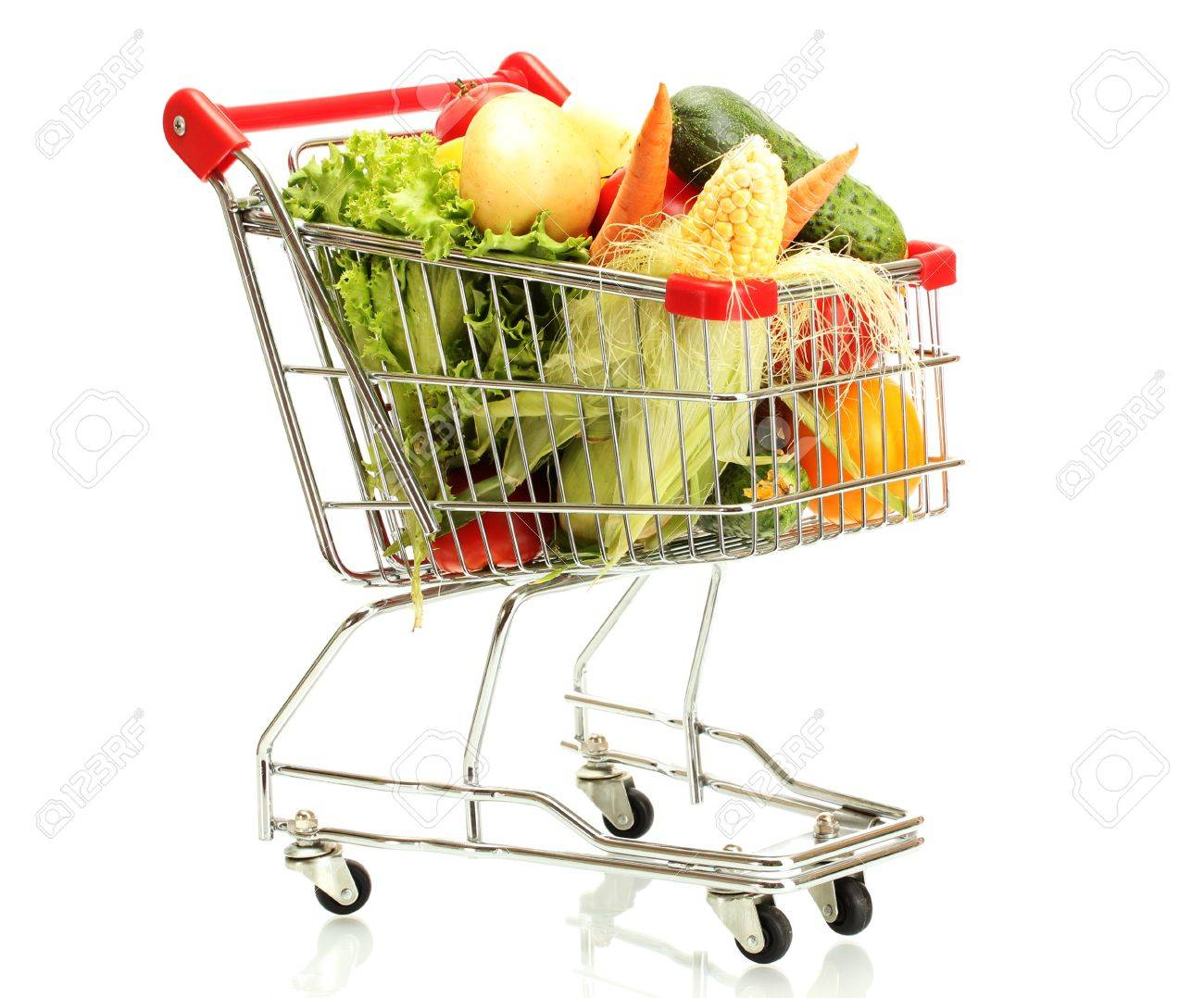 Fresh vegetables in metal trolley isolated on white Stock Photo - 14708818