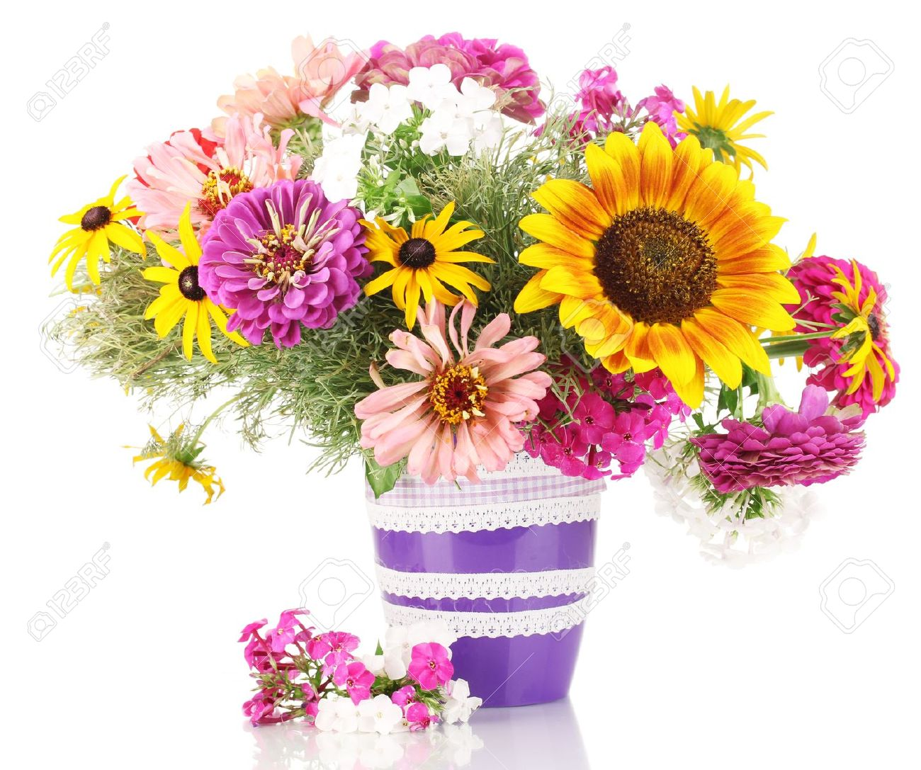 Beautiful Bouquet Of Bright Flowers Isolated On White Stock Photo ...