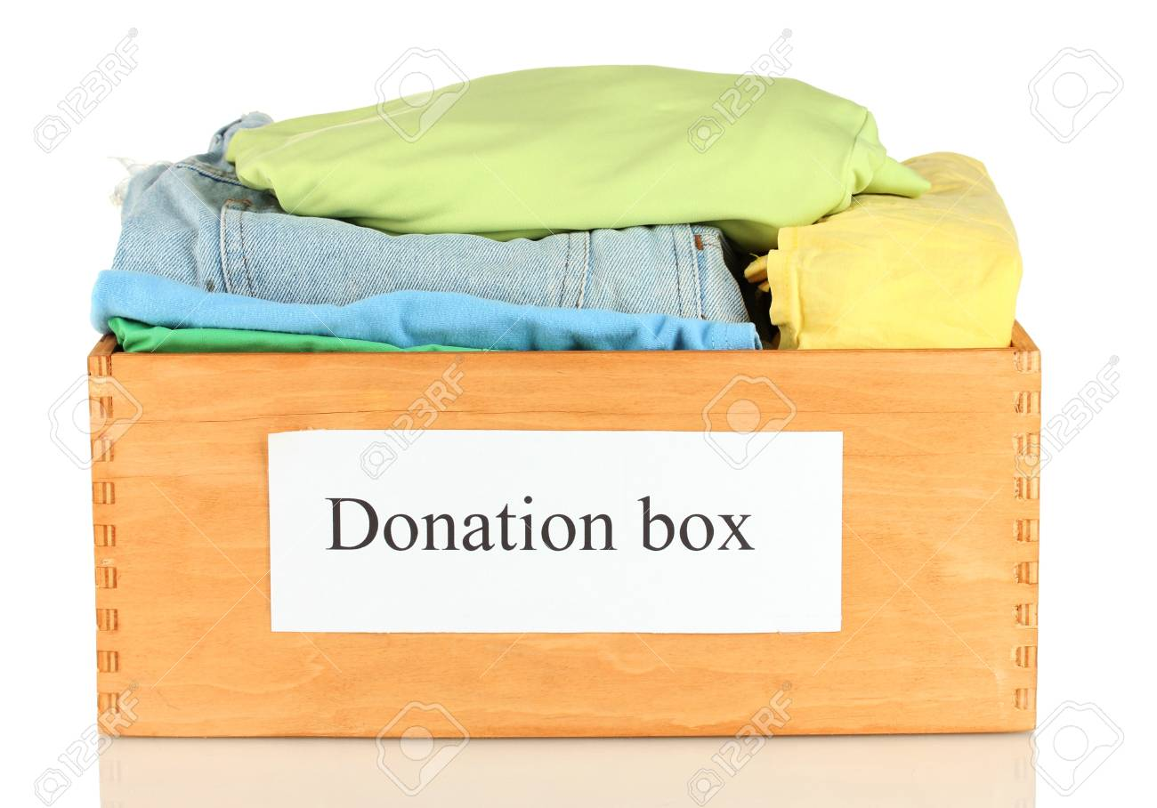 Donation box with clothing isolated on white Stock Photo - 14712683
