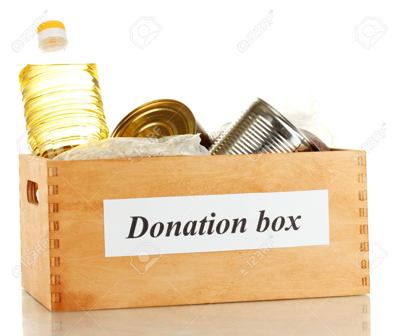 Donation box with food isolated on white Stock Photo - 14735331