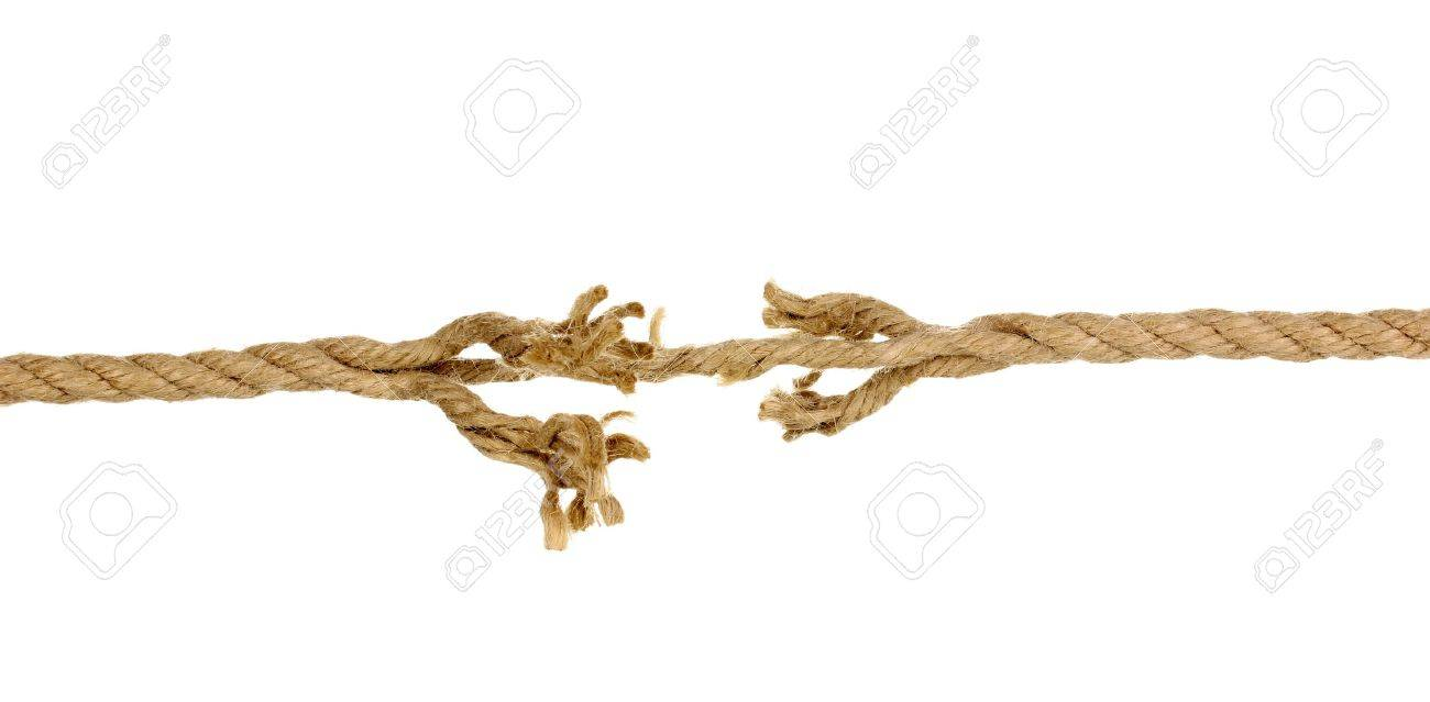 Breaking rope isolated on white Stock Photo - 14734649