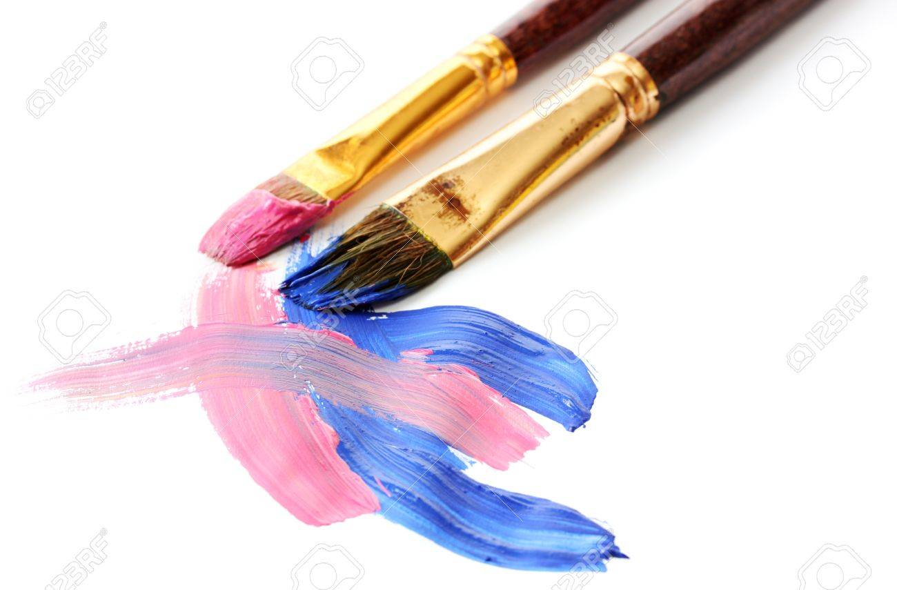 Abstract gouache paint and brushes, isolated on white Stock Photo - 14807510