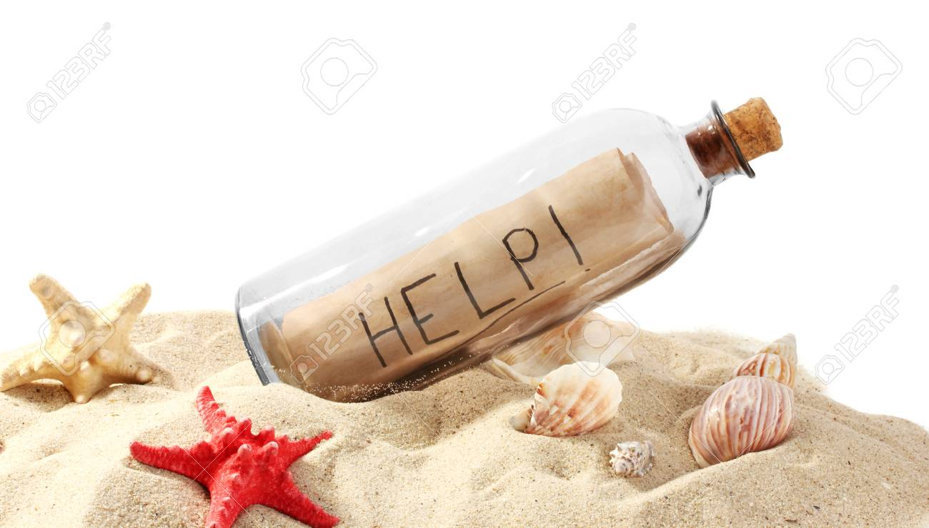 Glass bottle with note inside on sand isolated on white Stock Photo - 14807695