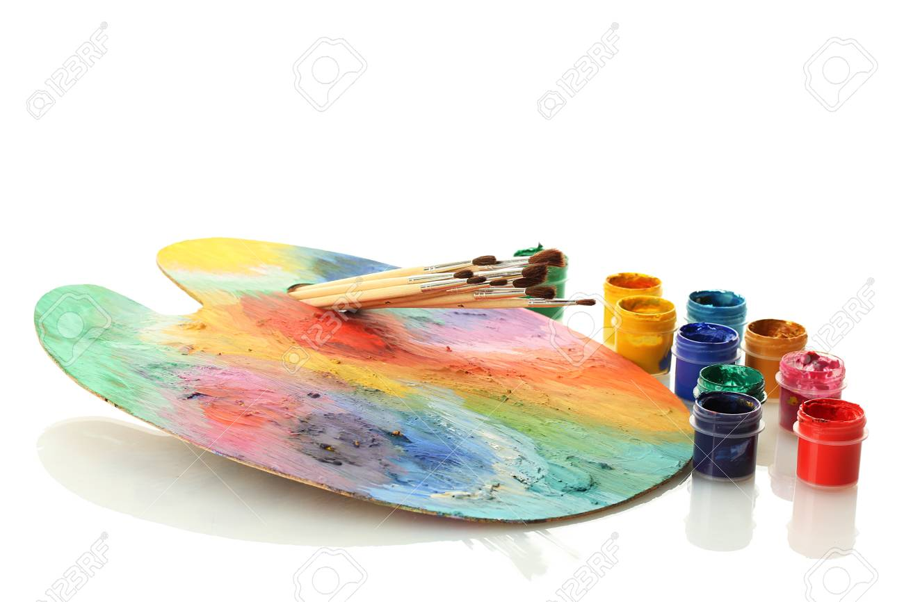 wooden art palette with paint and brushes isolated on white Stock Photo - 14829767