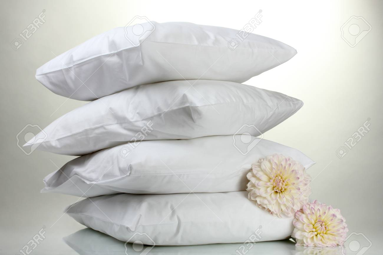 pillows and flowers, on grey background Stock Photo - 15198406