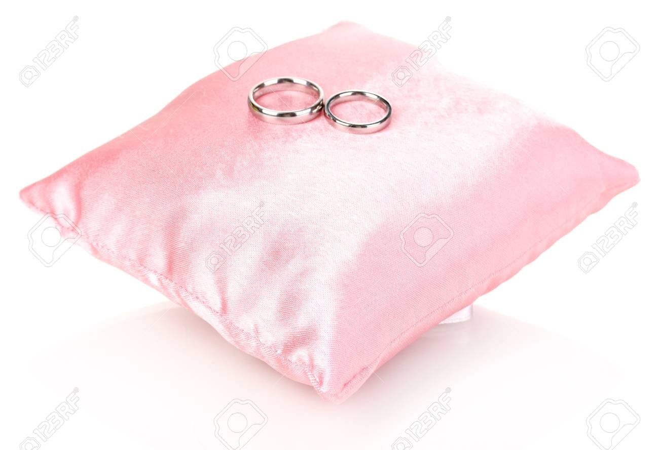 Wedding Rings On Satin Pillow Isolated On White Stock Photo, Picture ...