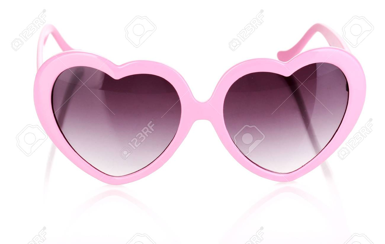 Pink heart-shaped sunglasses isolated on white Stock Photo - 15197106