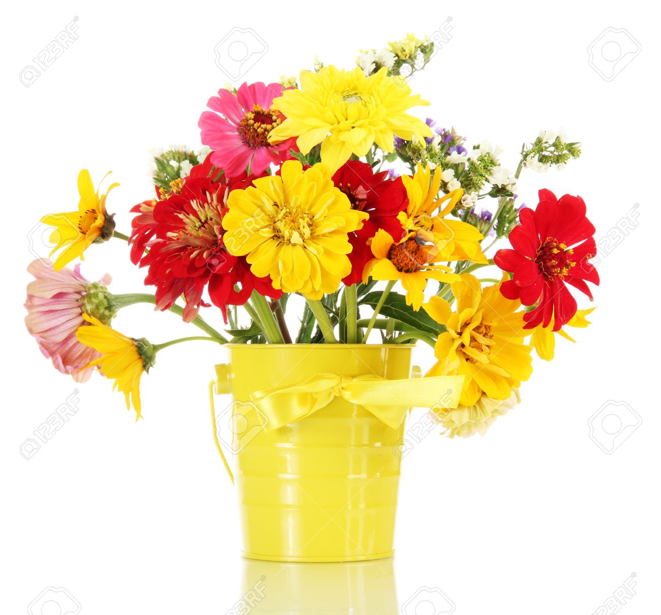 Bouquet Of Beautiful Summer Flowers In Bucket, Isolated On White ...