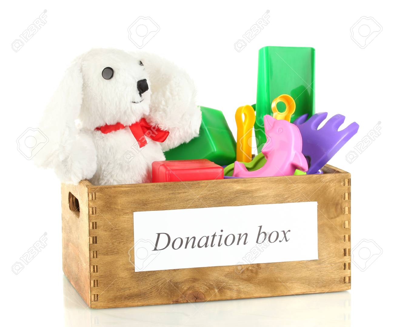 Donation box with children toys isolated on white Stock Photo - 14906649